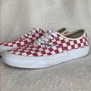 Vans pink checkerboard sneakers